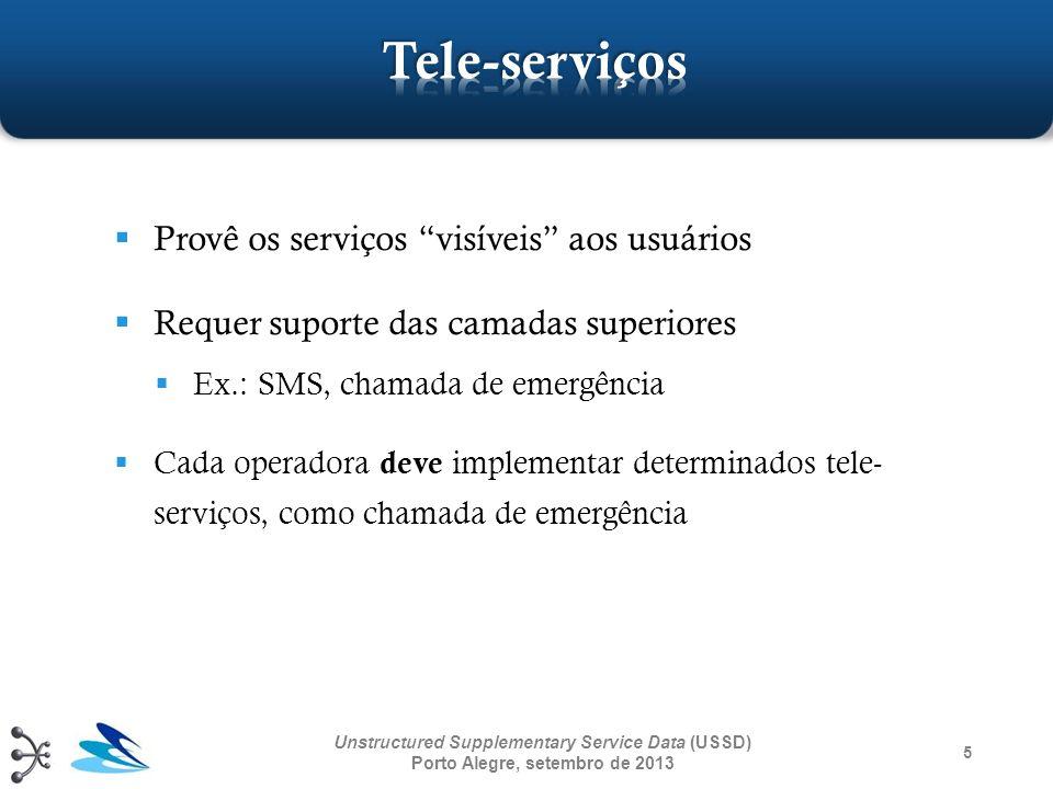 5 Unstructured Supplementary Service Data (USSD) Porto Alegre, setembro de 2013 Provê os serviços visíveis aos usuários Requer suporte das camadas sup