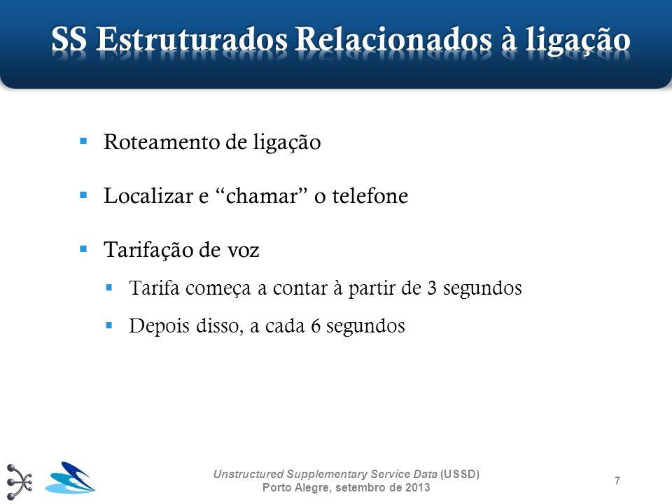 7 Unstructured Supplementary Service Data (USSD) Porto Alegre, setembro de 2013 Roteamento de ligação Localizar e chamar o telefone Tarifação de voz T