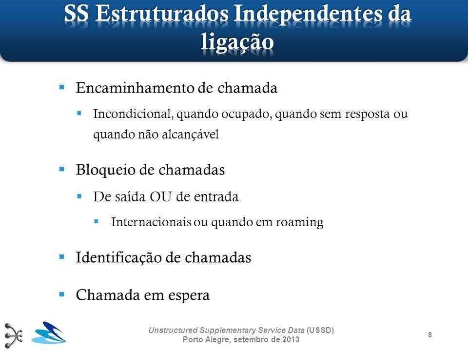 8 Unstructured Supplementary Service Data (USSD) Porto Alegre, setembro de 2013 Encaminhamento de chamada Incondicional, quando ocupado, quando sem re