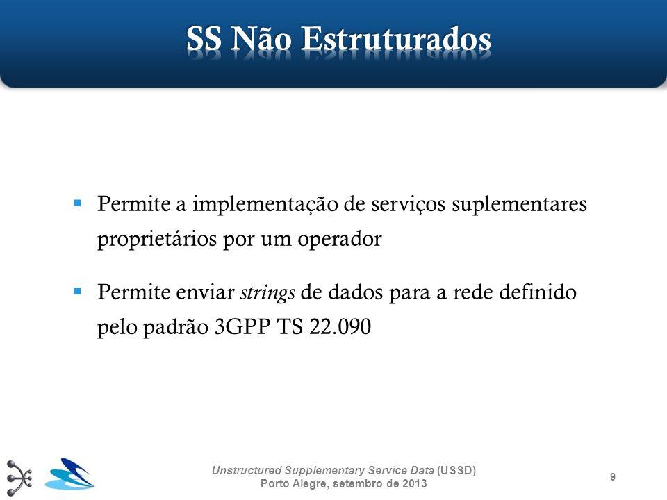 9 Unstructured Supplementary Service Data (USSD) Porto Alegre, setembro de 2013 Permite a implementação de serviços suplementares proprietários por um