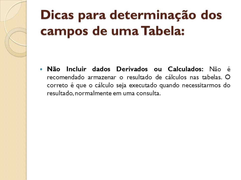 Dicas para determinação dos campos de uma Tabela: Não Incluir dados Derivados ou Calculados: Não é recomendado armazenar o resultado de cálculos nas t