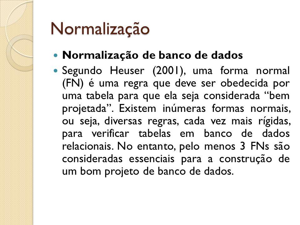 Normalização Normalização de banco de dados Segundo Heuser (2001), uma forma normal (FN) é uma regra que deve ser obedecida por uma tabela para que el