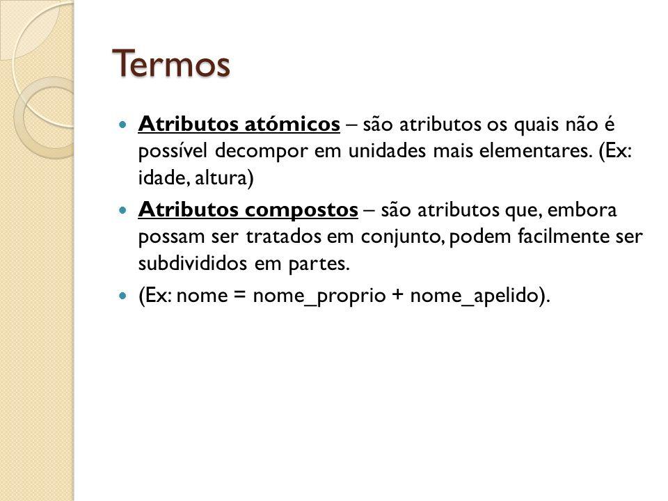 Termos Atributos atómicos – são atributos os quais não é possível decompor em unidades mais elementares. (Ex: idade, altura) Atributos compostos – são