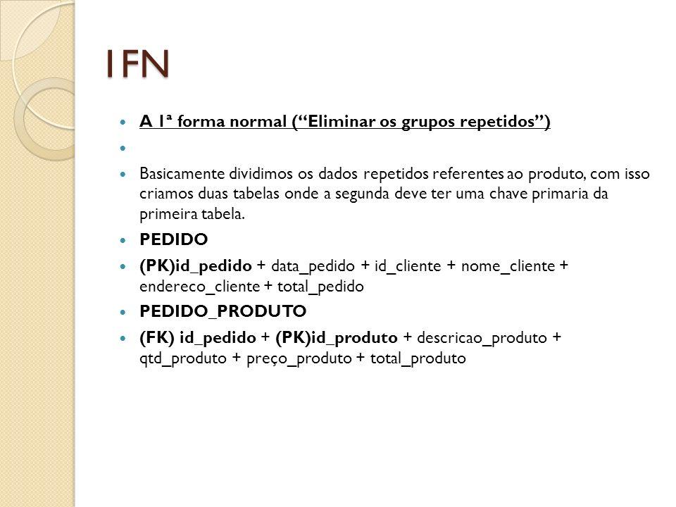 1FN A 1ª forma normal (Eliminar os grupos repetidos) Basicamente dividimos os dados repetidos referentes ao produto, com isso criamos duas tabelas ond