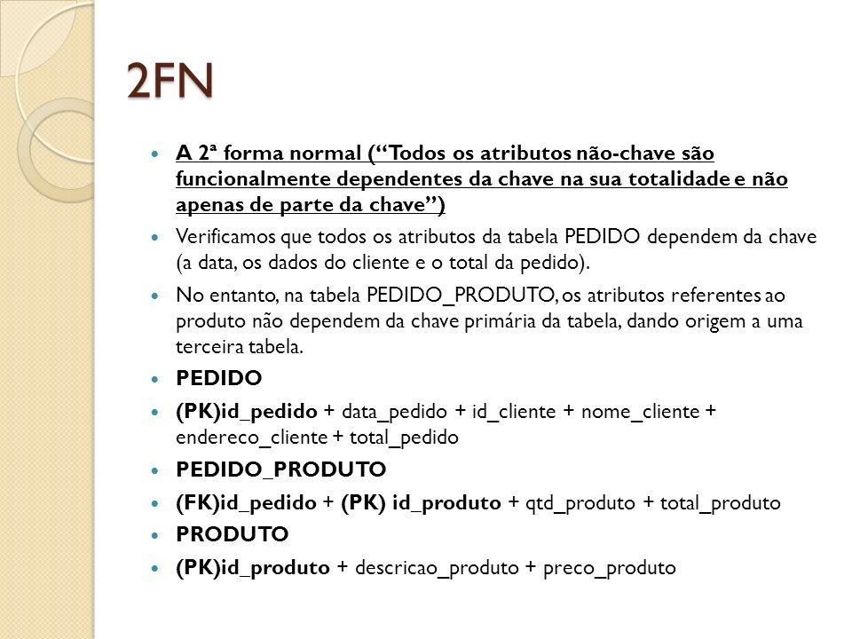 2FN A 2ª forma normal (Todos os atributos não-chave são funcionalmente dependentes da chave na sua totalidade e não apenas de parte da chave) Verifica
