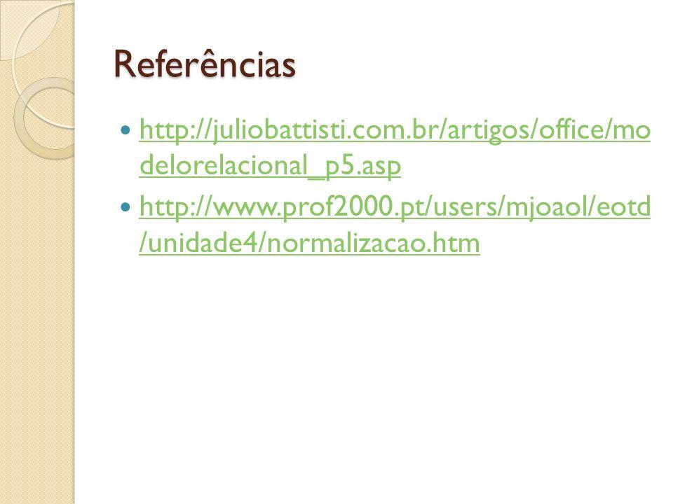 Referências http://juliobattisti.com.br/artigos/office/mo delorelacional_p5.asp http://juliobattisti.com.br/artigos/office/mo delorelacional_p5.asp ht