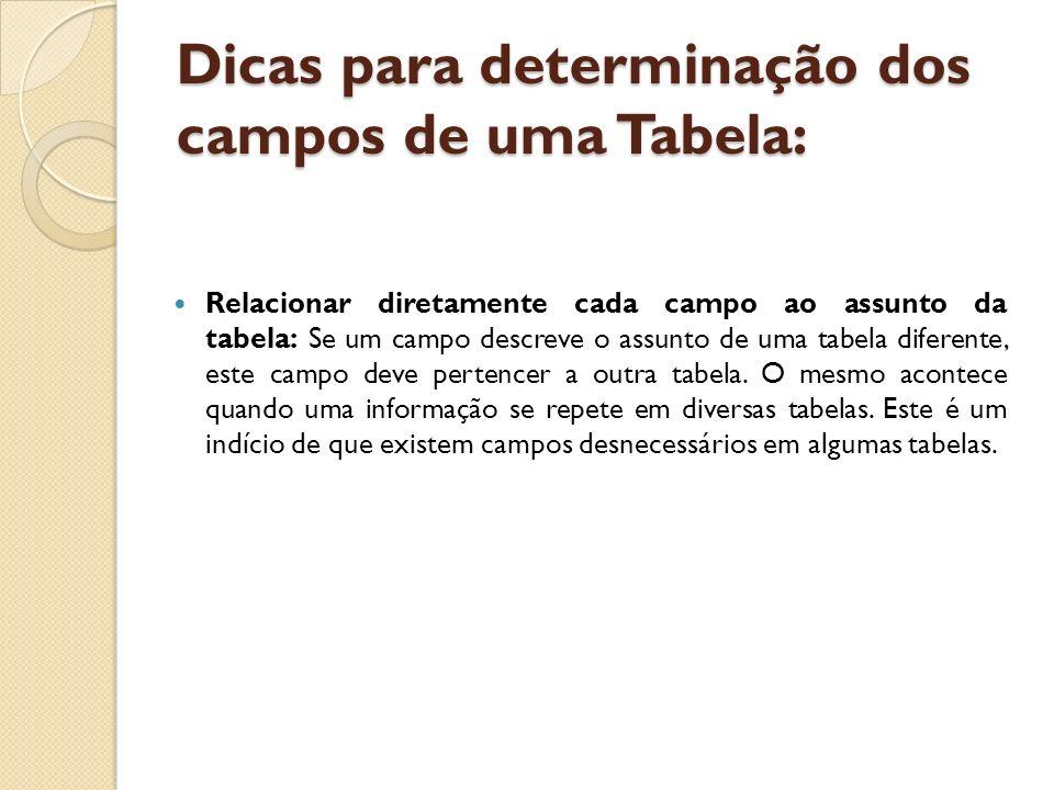 Dicas para determinação dos campos de uma Tabela: Relacionar diretamente cada campo ao assunto da tabela: Se um campo descreve o assunto de uma tabela
