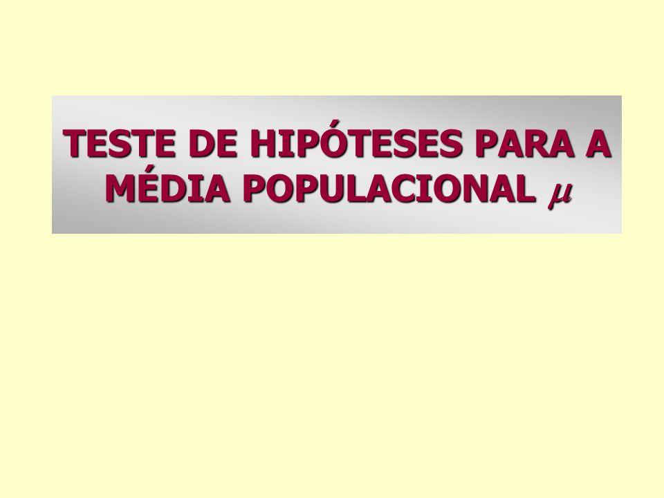 TESTE DE HIPÓTESES PARA A MÉDIA POPULACIONAL TESTE DE HIPÓTESES PARA A MÉDIA POPULACIONAL