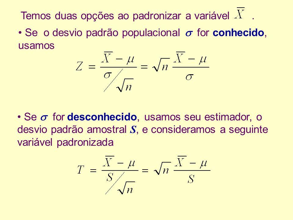 Temos duas opções ao padronizar a variável. Se for desconhecido, usamos seu estimador, o desvio padrão amostral S, e consideramos a seguinte variável