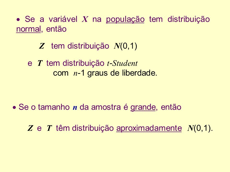 Se a variável X na população tem distribuição normal, então Se o tamanho n da amostra é grande, então Z tem distribuição N (0,1) e T tem distribuição t - Student com n -1 graus de liberdade.