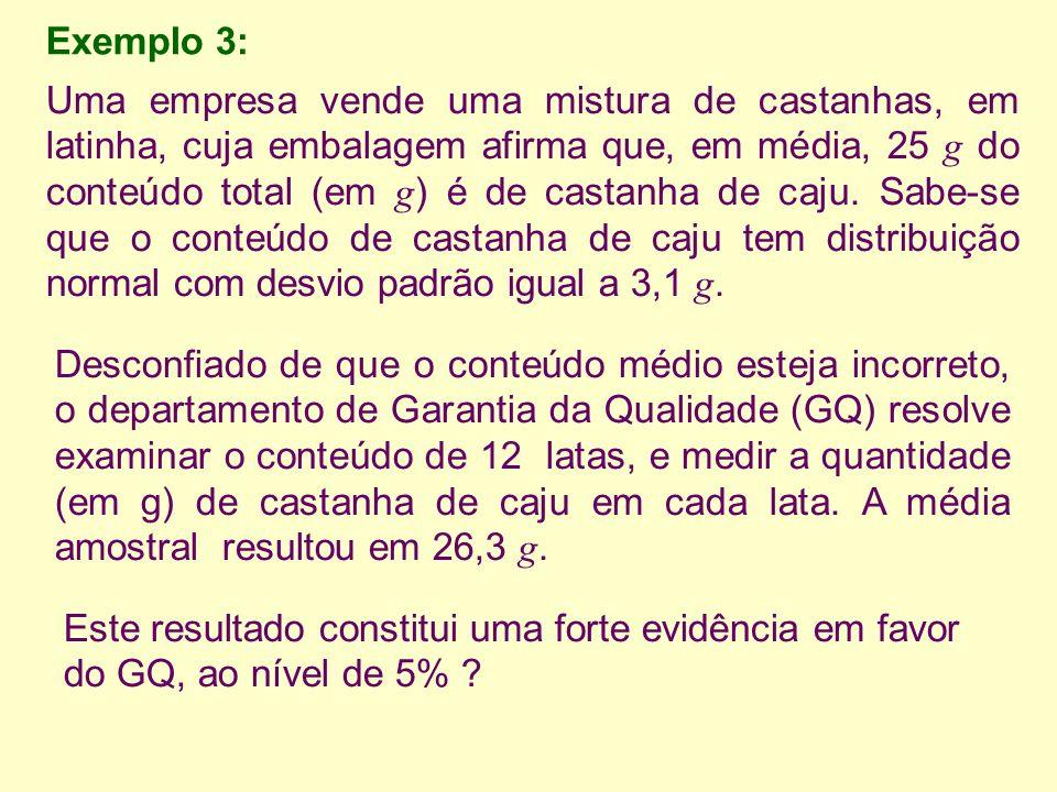 Exemplo 3: Uma empresa vende uma mistura de castanhas, em latinha, cuja embalagem afirma que, em média, 25 g do conteúdo total (em g ) é de castanha de caju.