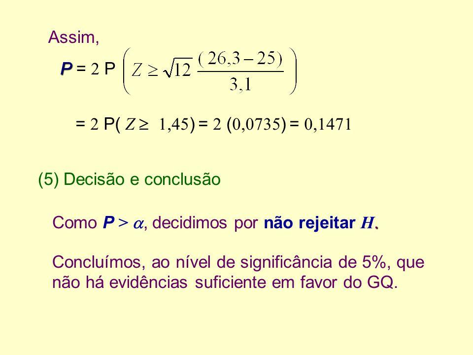 (5) Decisão e conclusão. Como P >, decidimos por não rejeitar H. Assim, = 2 P( Z 1,45 ) = 2 ( 0,0735 ) = 0,1471 Concluímos, ao nível de significância
