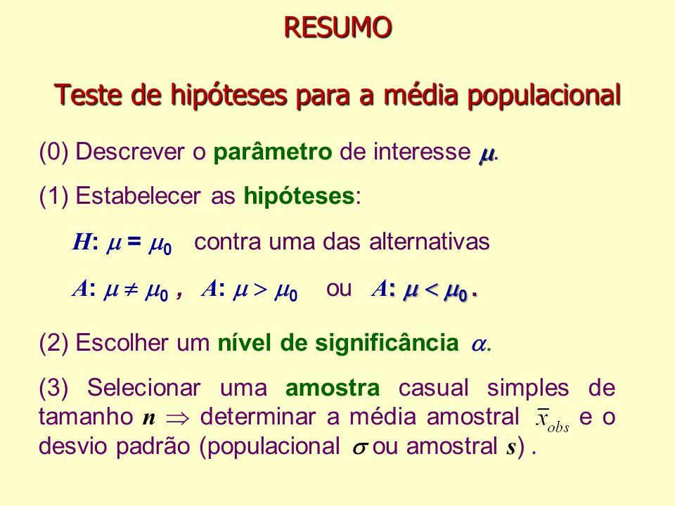 RESUMO Teste de hipóteses para a média populacional (1) Estabelecer as hipóteses: H : = 0 contra uma das alternativas : 0. A : 0, A : 0 ou A : 0. (2)