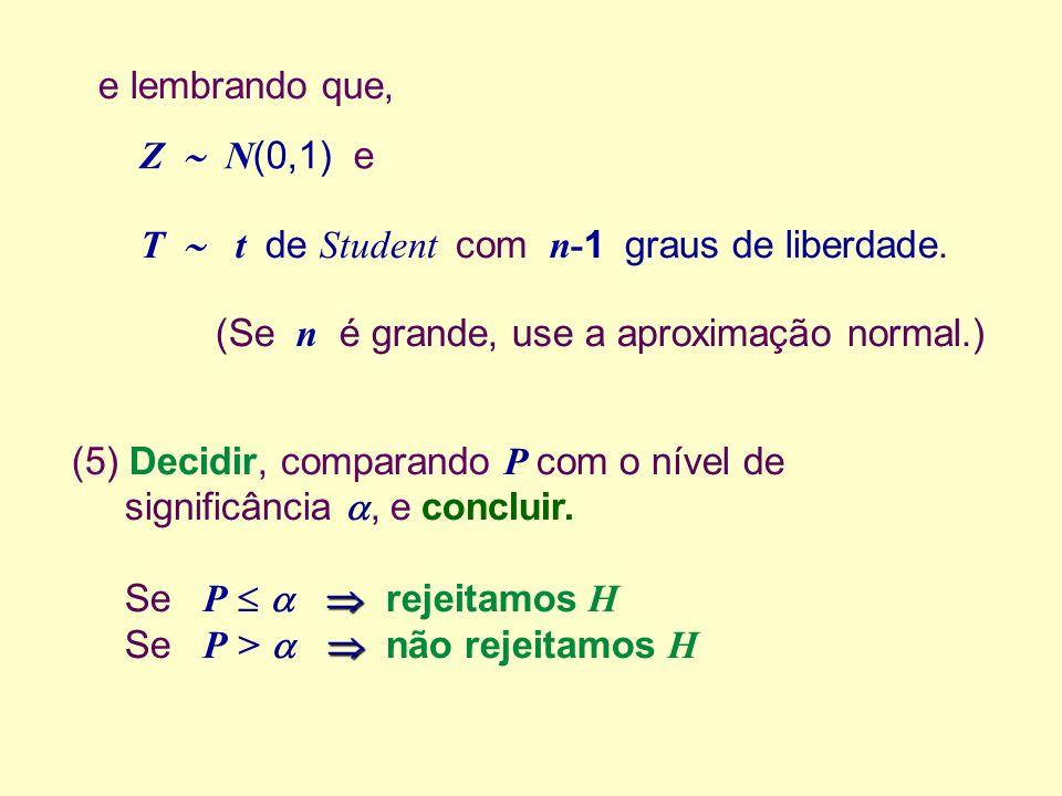 (5) Decidir, comparando P com o nível de significância, e concluir. Se P rejeitamos H Se P > não rejeitamos H e lembrando que, Z N (0,1) e T t de Stud