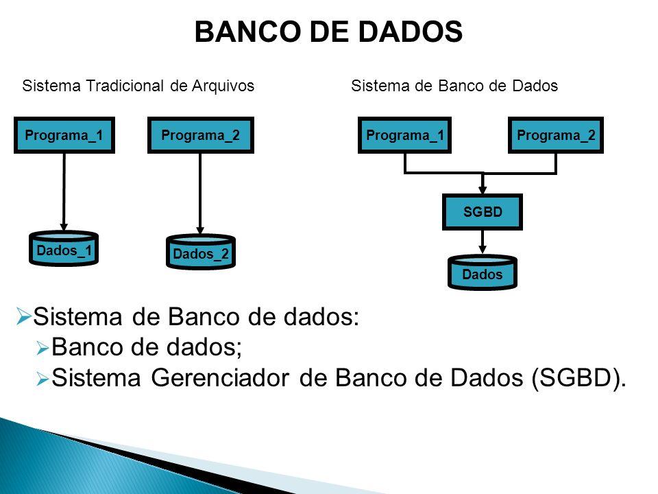 Sistema de Banco de dados É um Sistema que mantém e recupera informações.