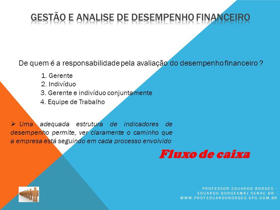 PROFESSOR EDUARDO BORGES - EDUARDO.BORGES@RJ.SENAC.BR - WWW.PROFEDUARDOBORGES.XPG.COM.BR De quem é a responsabilidade pela avaliação do desempenho financeiro .