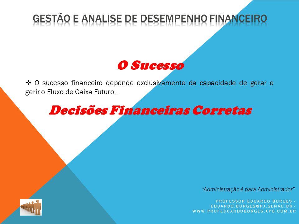 PROFESSOR EDUARDO BORGES - EDUARDO.BORGES@RJ.SENAC.BR - WWW.PROFEDUARDOBORGES.XPG.COM.BR O sucesso financeiro depende exclusivamente da capacidade de gerar e gerir o Fluxo de Caixa Futuro.