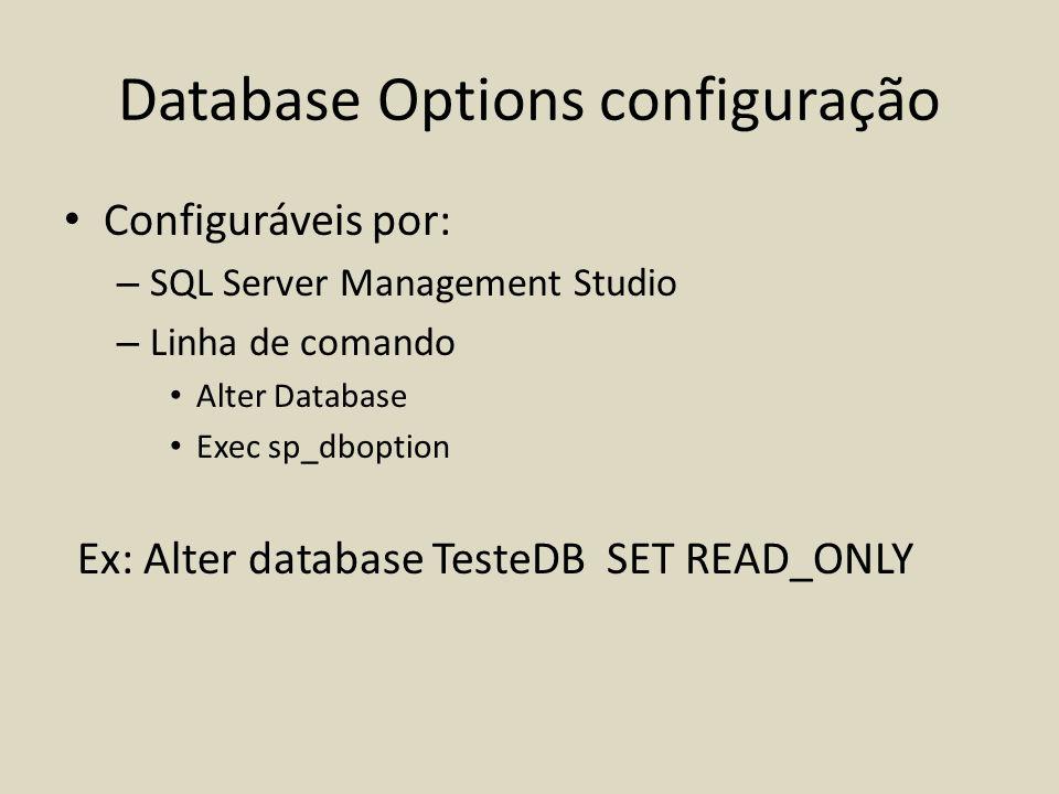Database Options configuração Configuráveis por: – SQL Server Management Studio – Linha de comando Alter Database Exec sp_dboption Ex: Alter database