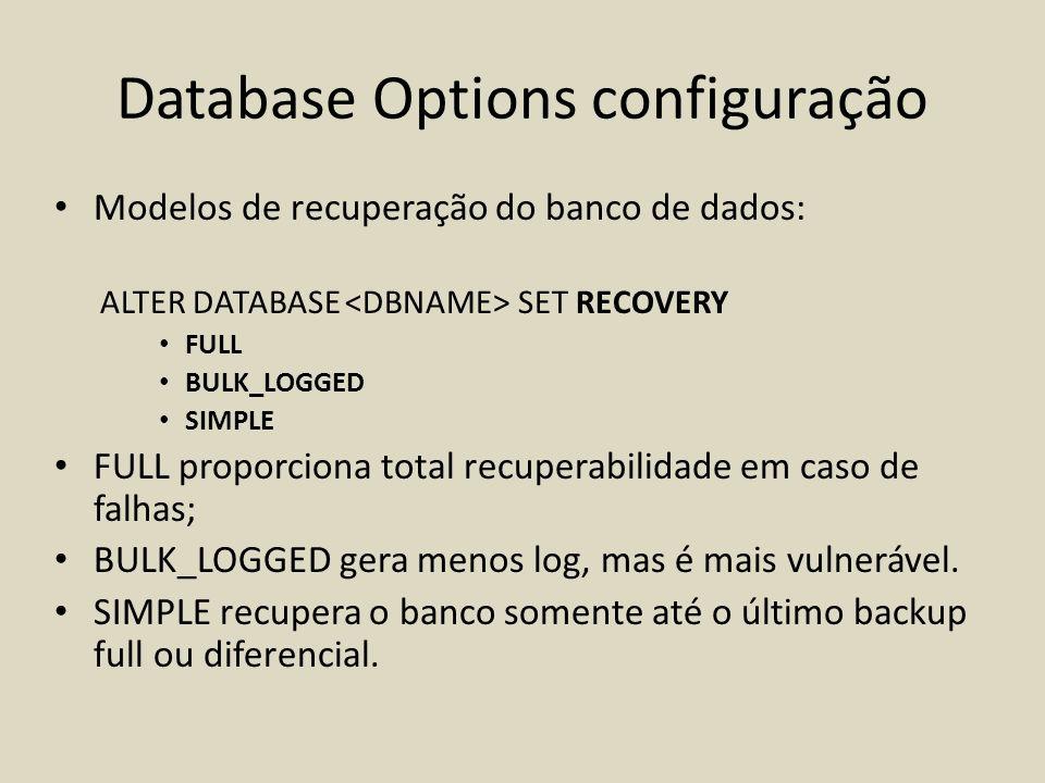 Database Options configuração Modelos de recuperação do banco de dados: ALTER DATABASE SET RECOVERY FULL BULK_LOGGED SIMPLE FULL proporciona total rec