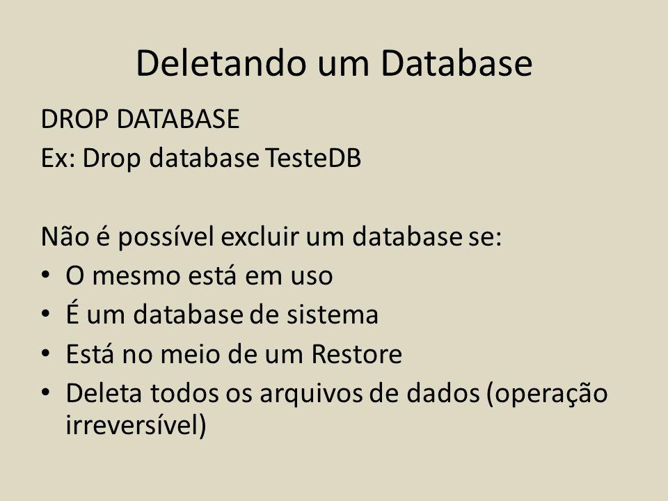 Deletando um Database DROP DATABASE Ex: Drop database TesteDB Não é possível excluir um database se: O mesmo está em uso É um database de sistema Está