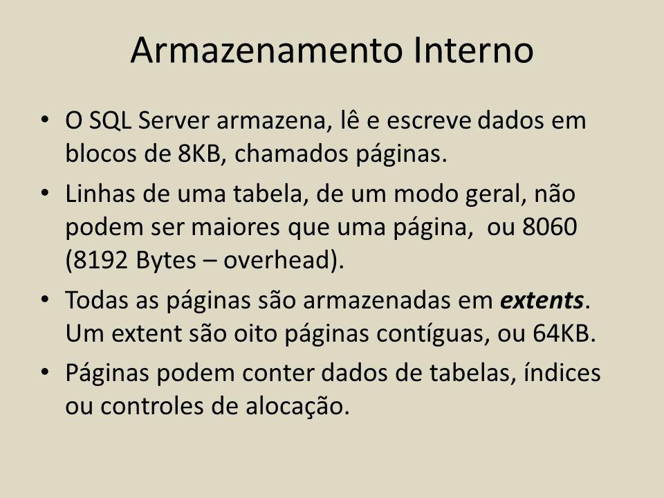 O SQL Server armazena, lê e escreve dados em blocos de 8KB, chamados páginas. Linhas de uma tabela, de um modo geral, não podem ser maiores que uma pá