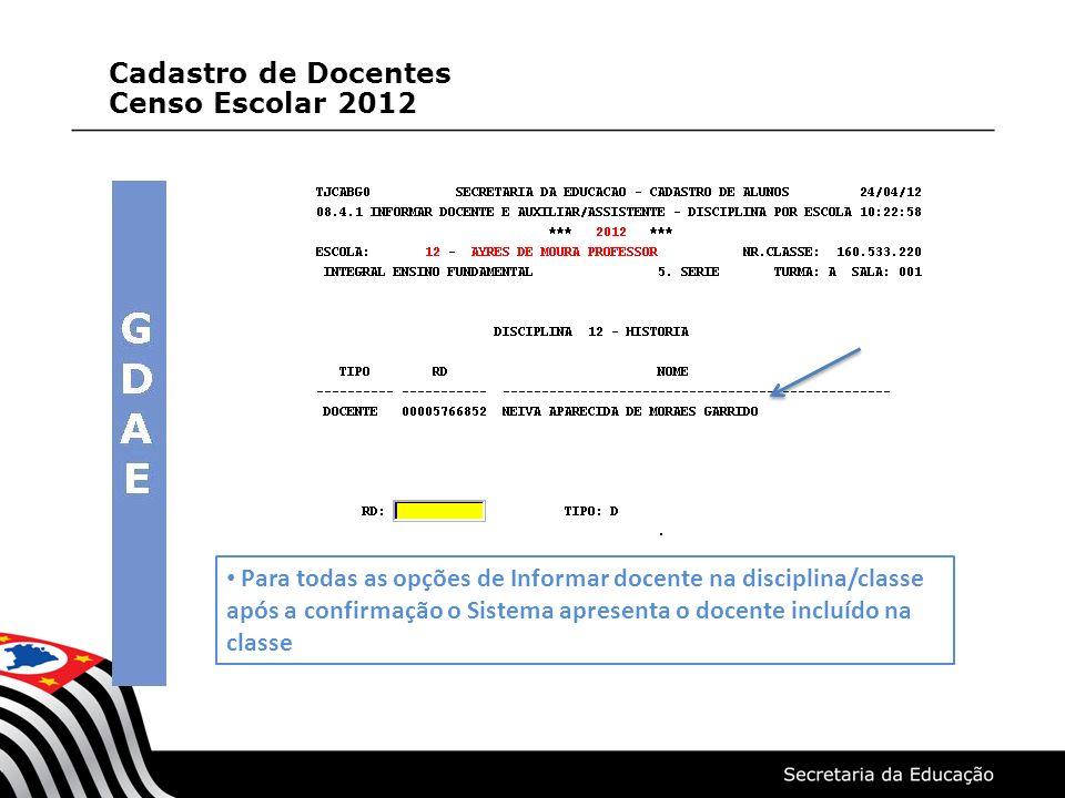 Para todas as opções de Informar docente na disciplina/classe após a confirmação o Sistema apresenta o docente incluído na classe Cadastro de Docentes Censo Escolar 2012