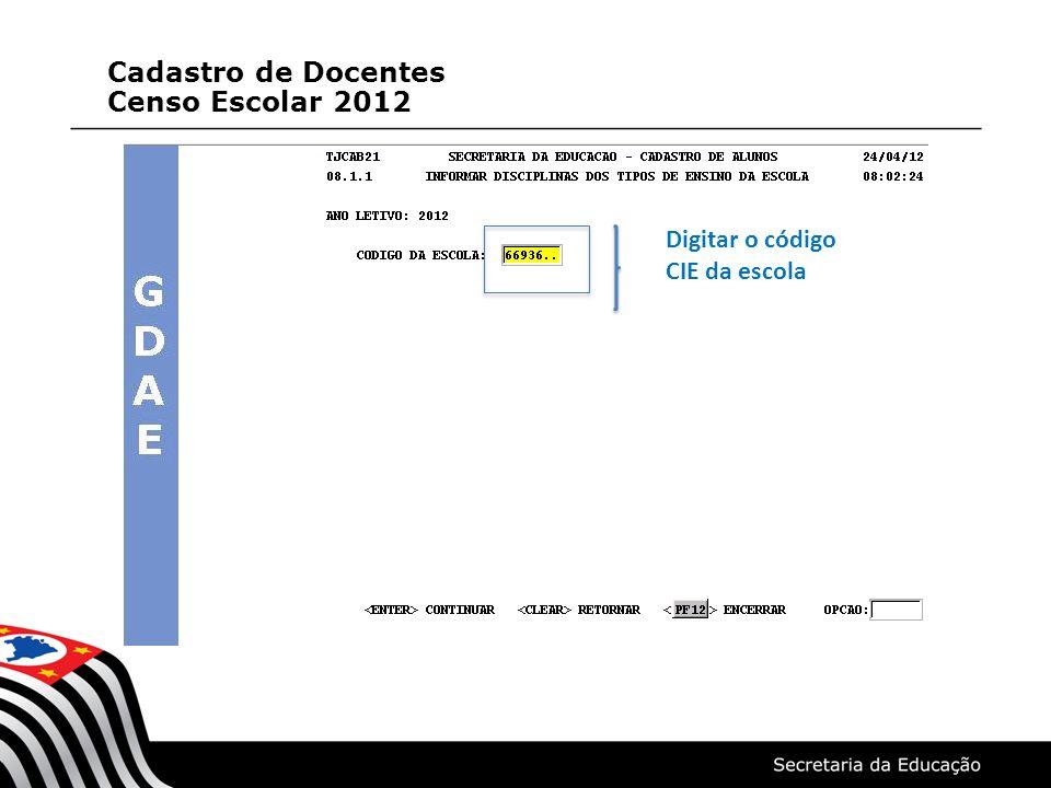 O Sistema apresentará na tela todas os tipos de ensino/série da escola Digitar X para selecionar o tipo de ensino/série para informar as disciplinas Cadastro de Docentes Censo Escolar 2012