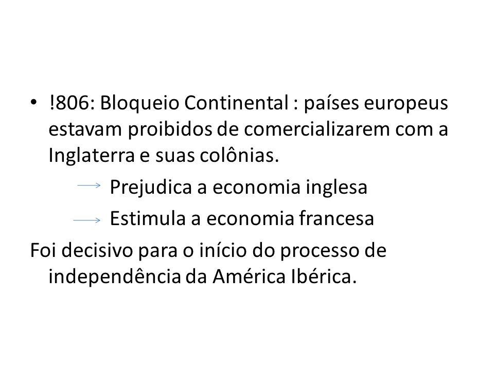!806: Bloqueio Continental : países europeus estavam proibidos de comercializarem com a Inglaterra e suas colônias. Prejudica a economia inglesa Estim