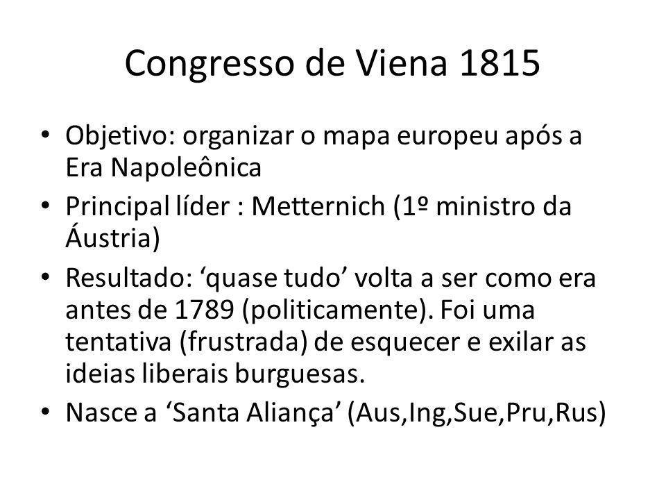 Congresso de Viena 1815 Objetivo: organizar o mapa europeu após a Era Napoleônica Principal líder : Metternich (1º ministro da Áustria) Resultado: qua