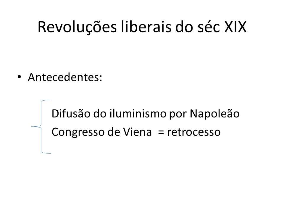 Revoluções liberais do séc XIX Antecedentes: Difusão do iluminismo por Napoleão Congresso de Viena = retrocesso