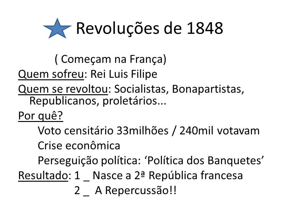 Revoluções de 1848 ( Começam na França) Quem sofreu: Rei Luis Filipe Quem se revoltou: Socialistas, Bonapartistas, Republicanos, proletários... Por qu