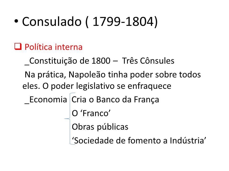 Consulado ( 1799-1804) Política interna _Constituição de 1800 – Três Cônsules Na prática, Napoleão tinha poder sobre todos eles. O poder legislativo s