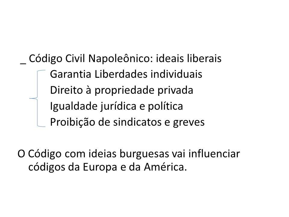 _ Código Civil Napoleônico: ideais liberais Garantia Liberdades individuais Direito à propriedade privada Igualdade jurídica e política Proibição de s