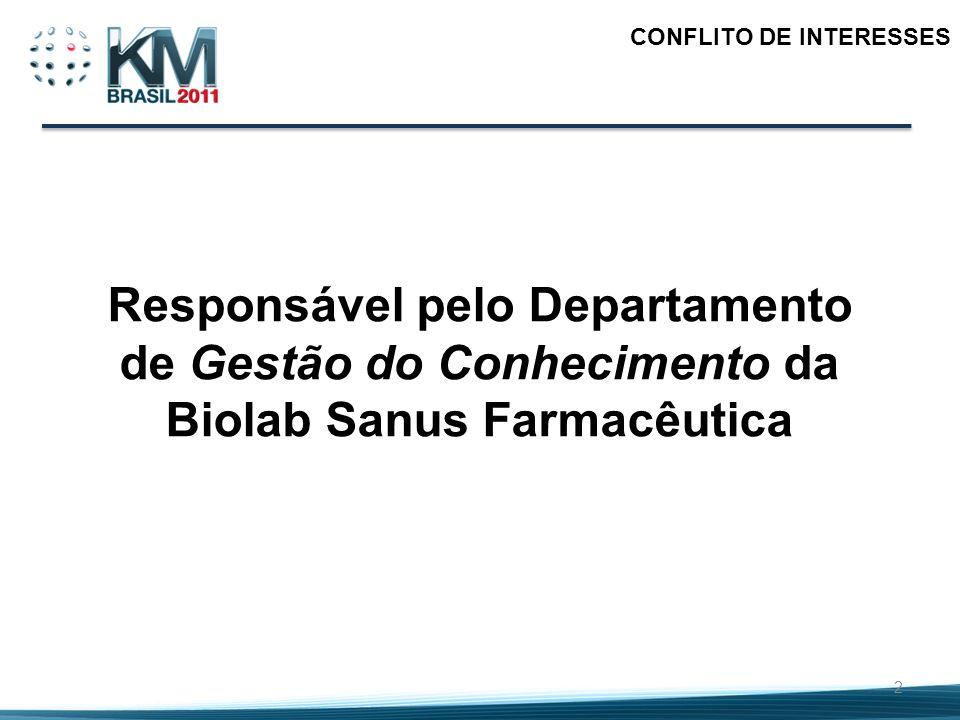 2 CONFLITO DE INTERESSES Responsável pelo Departamento de Gestão do Conhecimento da Biolab Sanus Farmacêutica