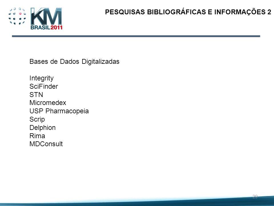29 Bases de Dados Digitalizadas Integrity SciFinder STN Micromedex USP Pharmacopeia Scrip Delphion Rima MDConsult PESQUISAS BIBLIOGRÁFICAS E INFORMAÇÕ