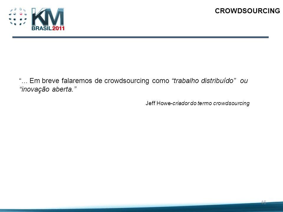 46 CROWDSOURCING... Em breve falaremos de crowdsourcing como trabalho distribuído ou inovação aberta. Jeff Howe-criador do termo crowdsourcing