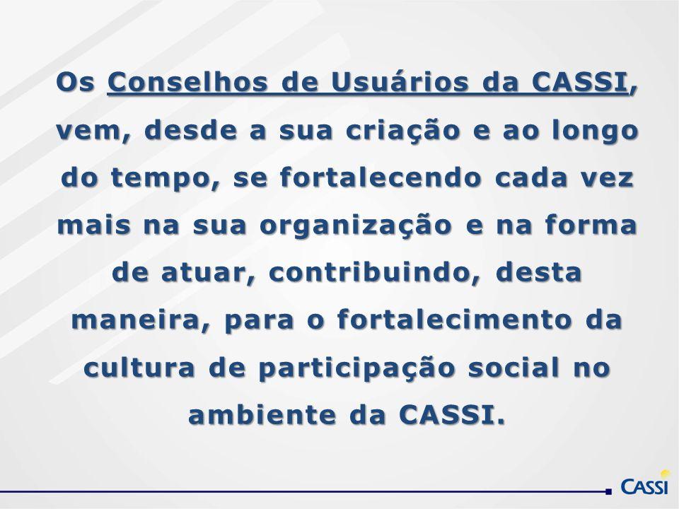 Os Conselhos de Usuários da CASSI, vem, desde a sua criação e ao longo do tempo, se fortalecendo cada vez mais na sua organização e na forma de atuar,
