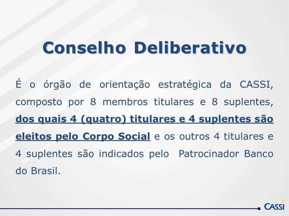 Conselho Deliberativo É o órgão de orientação estratégica da CASSI, composto por 8 membros titulares e 8 suplentes, dos quais 4 (quatro) titulares e 4