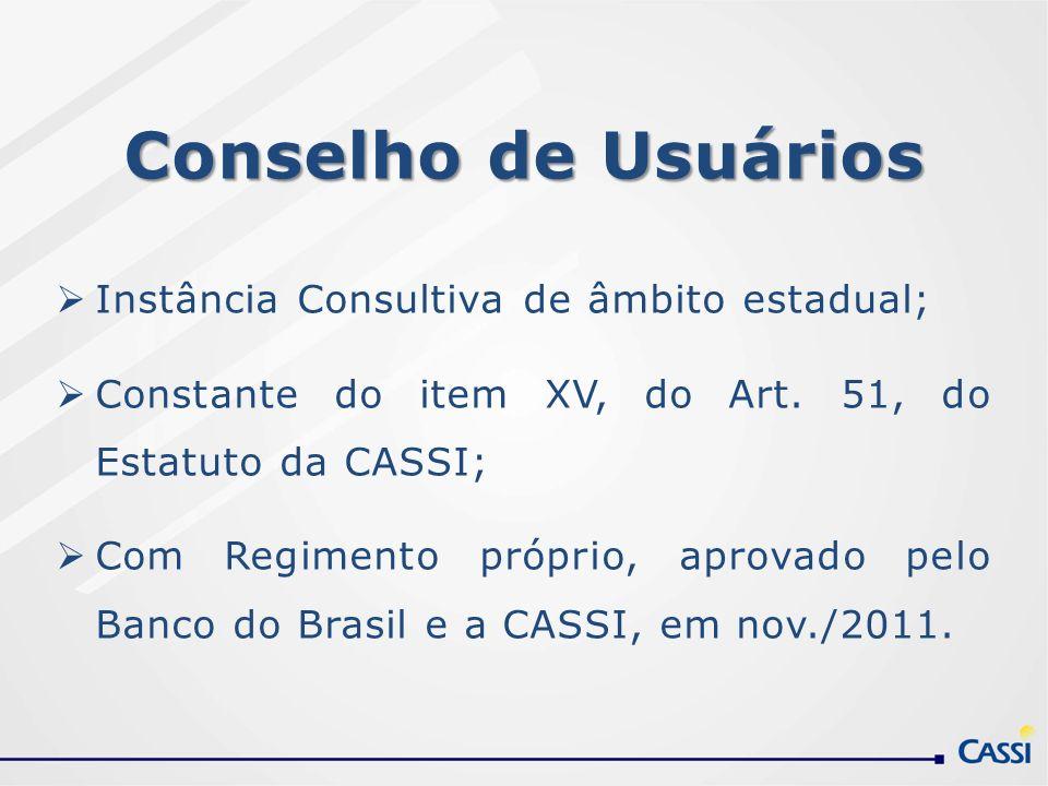 Conselho de Usuários Instância Consultiva de âmbito estadual; Constante do item XV, do Art. 51, do Estatuto da CASSI; Com Regimento próprio, aprovado
