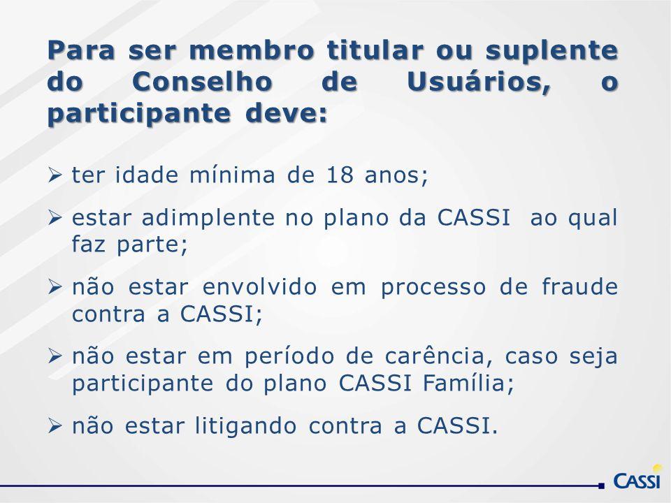 Para ser membro titular ou suplente do Conselho de Usuários, o participante deve: ter idade mínima de 18 anos; estar adimplente no plano da CASSI ao q