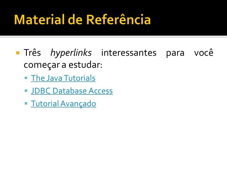 Três hyperlinks interessantes para você começar a estudar: The Java Tutorials JDBC Database Access Tutorial Avançado