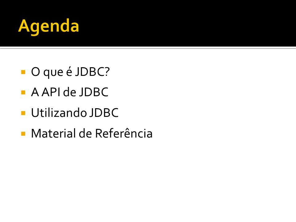 O que é JDBC? A API de JDBC Utilizando JDBC Material de Referência