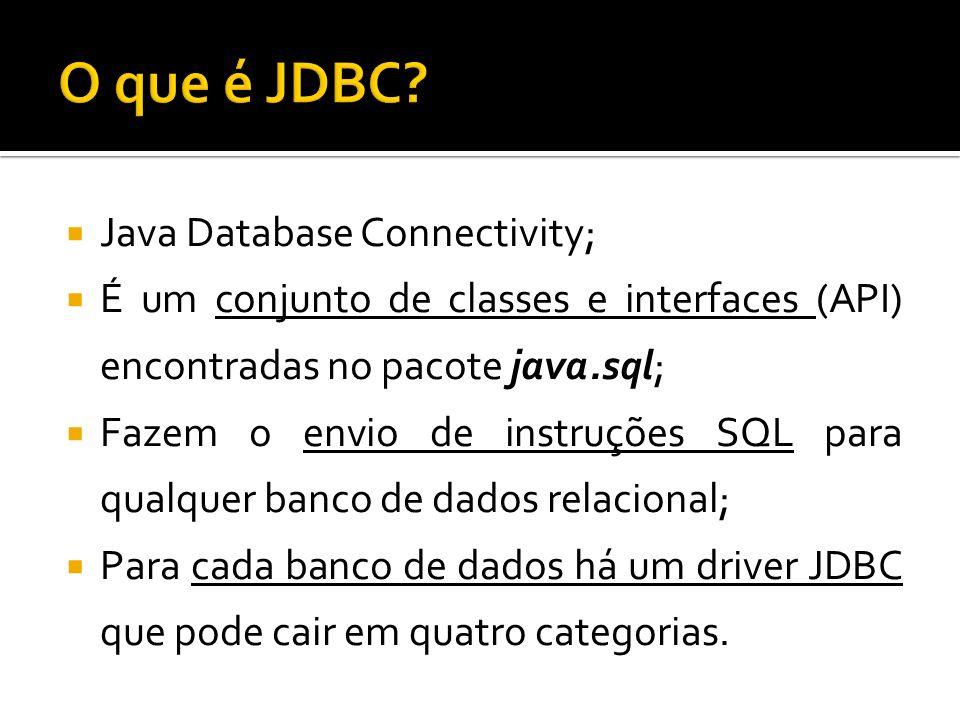 Java Database Connectivity; É um conjunto de classes e interfaces (API) encontradas no pacote java.sql; Fazem o envio de instruções SQL para qualquer