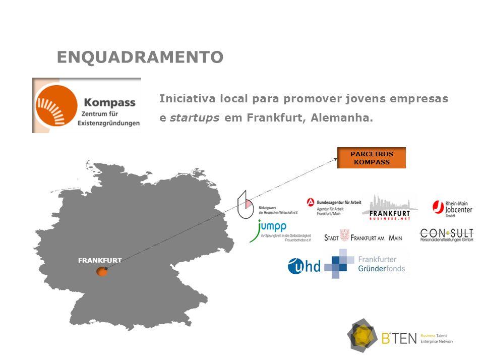 Iniciativa local para promover jovens empresas e startups em Frankfurt, Alemanha. ENQUADRAMENTO FRANKFURT PARCEIROS KOMPASS