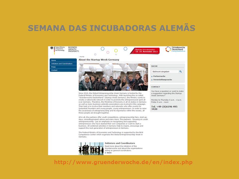 SEMANA DAS INCUBADORAS ALEMÃS http://www.gruenderwoche.de/en/index.php