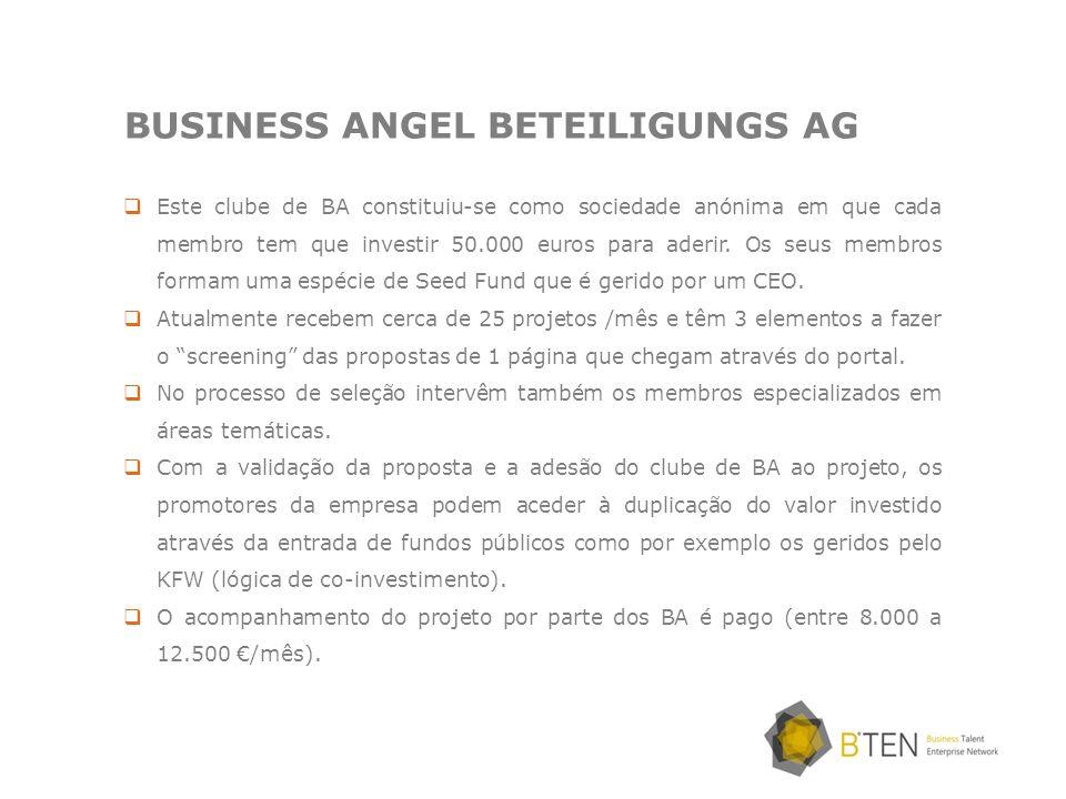 BUSINESS ANGEL BETEILIGUNGS AG Este clube de BA constituiu-se como sociedade anónima em que cada membro tem que investir 50.000 euros para aderir. Os