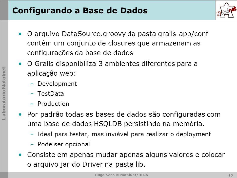 Laboratório Natalnet Hugo Sena © NatalNet/UFRN Configurando a Base de Dados O arquivo DataSource.groovy da pasta grails-app/conf contêm um conjunto de closures que armazenam as configurações da base de dados O Grails disponibiliza 3 ambientes diferentes para a aplicação web: –Development –TestData –Production Por padrão todas as bases de dados são configuradas com uma base de dados HSQLDB persistindo na memória.