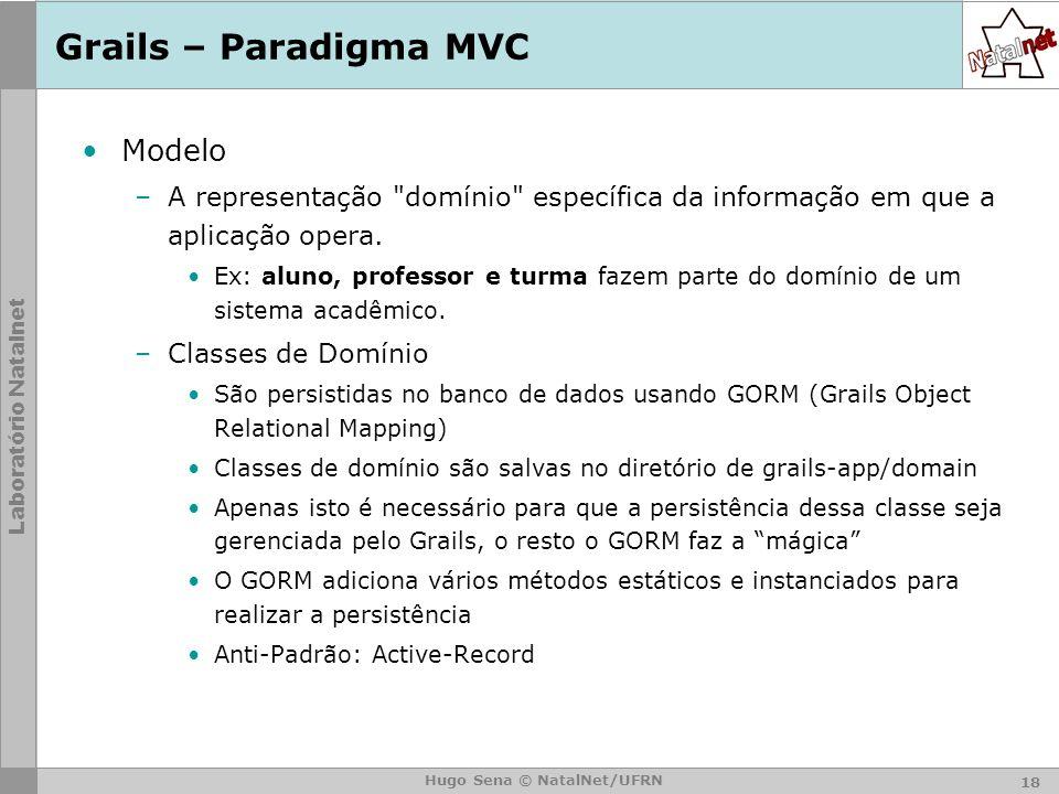 Laboratório Natalnet Hugo Sena © NatalNet/UFRN Grails – Paradigma MVC Modelo –A representação domínio específica da informação em que a aplicação opera.