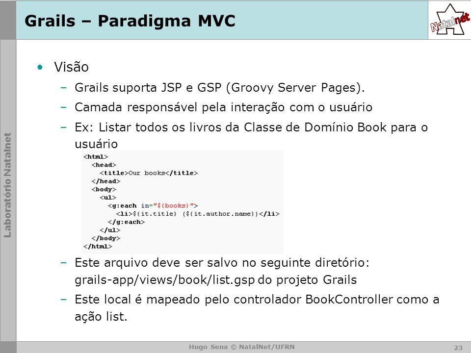 Laboratório Natalnet Hugo Sena © NatalNet/UFRN Grails – Paradigma MVC Visão –Grails suporta JSP e GSP (Groovy Server Pages).