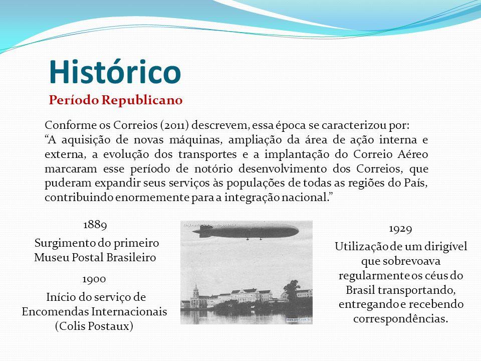 Histórico Períodos do DCT e ECT Em 1931, foi formado o Departamento de Correios e Telégrafos (DCT), que, em conjunto com o Correio Aéreo Nacional, tornou-se responsável pelo serviço postal brasileiro.